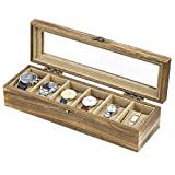 SRIWATANA Watch Box Case Organizer Display for Men Women, 6-Slot Wood Box with Glass Top, Vintage Style