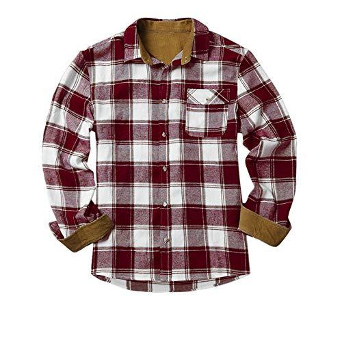 Gemijacka Flanellhemd Herren Langarm Karohemd mit Brusttasche Jungen Kariert Freizeithemd Regular Fit Men Check Shirt