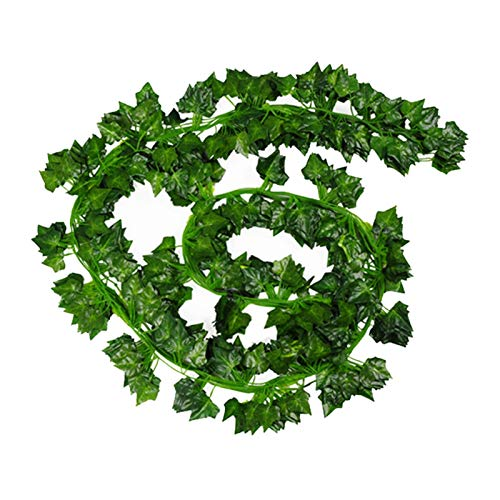 WanXingY 12pcs Artificial Green Ivy Leaves Begonia Fake Plastic Rattan String Wall Garland Plants Vine Decor Plant Home Decoration 2M (Color : Ivy Leaves)
