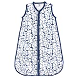 Yoga Sprout Baby Sleeveless Muslin Cotton Sleeping Bag, Sack, Blanket, Blue Anchor, 6-12 Months