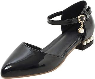 58f022ea66f520 KIKIVA Escarpin Femme Talon Plat Bout Pointu Cuir Vernis Bride Cheville  Boucle Confortable Fashion Chaussures