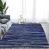 "Chindi Rug Reversible Rag Cotton Hand Woven Throw Area Rugs for Kitchen Bedroom Bathroom Livingroom Washable Stripe Blue 48"" x 96"" -  SERENITA"