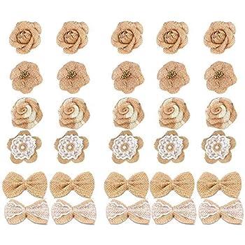 Sumshy 24Pcs DIY Fleurs Artificielles Deco Fleurs de Papier Peint pour D/écoration de No/ël 8 Styles Floraux rustiques de Jute Fleurs de Toile de Jute Vintage Lin D/éco Fleurs Accessoires Cheveux