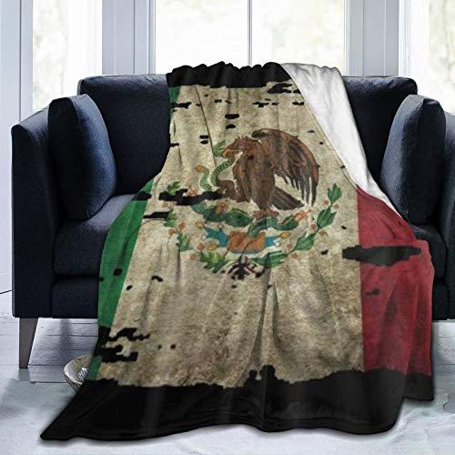 QIUTIANXIU Mantas para Sofás de Franela 150x200cm Bandera de Mexico Manta para Cama Extra Suave
