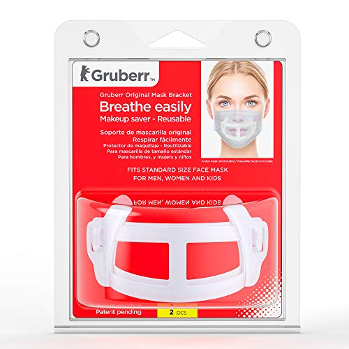 Gruberr Face Mask Bracket – Breathe Easily Under a Face Mask with Minimum Discomfort, Mask Guard for STANDARD Mask Size, for Adults and Kids, 3D Mask Frame, Ergonomic, Light, Reusable, Safe, 2 Pcs