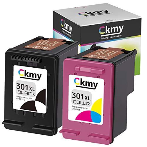 CKMY Ersatz für HP 301 XL 301XL 2-Stück Schwarz Farbe Wiederaufbereitet Druckerpatrone für DeskJet 3050 1050 2544 3055a 2540 2547 2549 3059a 1510 OfficeJet 4632 4636 2620 Envy 4504 4508 Drucker