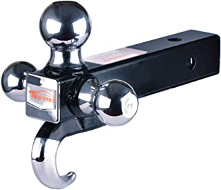 Towever 84180 2 inches Class III/IV Trailer Hitch Tri Ball Mount with Hook (Hollow Shank, Black&Chrome)