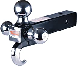 Towever 84180 2 inches Class III/IV Trailer Hitch Tri Ball Mount with Hook (Hollow Shank Tow Hitch, Black&Chrome)