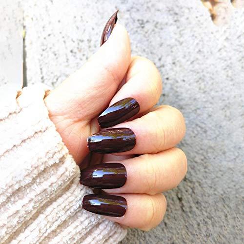 NYJNN Künstliche Nägel Mittellange falsche Nagelpflaster Material glänzend glänzend Diy Nail Art Anzug dunkelbraun Kaffee Pressen Tipps auf den Nägeln