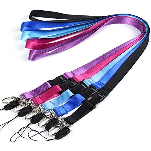Wisdompro, laccetti da collo in nylon, con moschettone ovale e fibbia staccabile, ideali per chiavi, portachiavi, chiavette USB, telefono, fotocamera, portabadge, 57 cm, 5 pezzi, colori assortiti