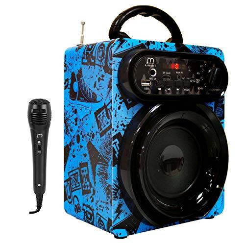 Altavoz Karaoke Reproductor con Micrófono 15W Radio FM Portátil Inalámbrico USB TF Card Recargable con Mando