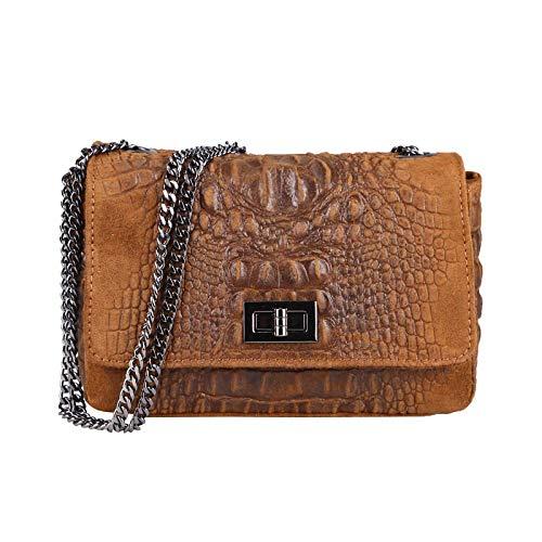 Made in Italy Damen Leder Tasche Kroko-Prägung Kette Henkeltasche Clutch Wildleder Handtasche Umhängetasche Ledertasche Schultertasche Cognac