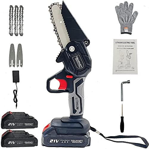 Mini Chainsaw (Black)-Electric Powered Cordless Hand-held Small lightweight Portable 4 Inch Pruning Chain Saw: for Cutting Wood Logging Trees with 3 Chains, 2 Rechargeable Lithium Batteries