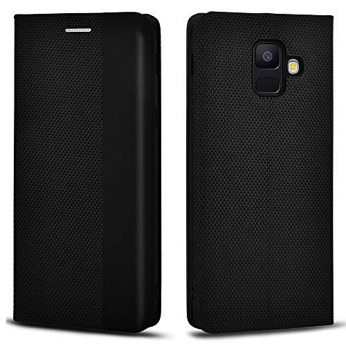 Aicoco Schutzhülle für Samsung Galaxy A6 2018 Leder Hülle Flip Case Handyhülle - Schwarz