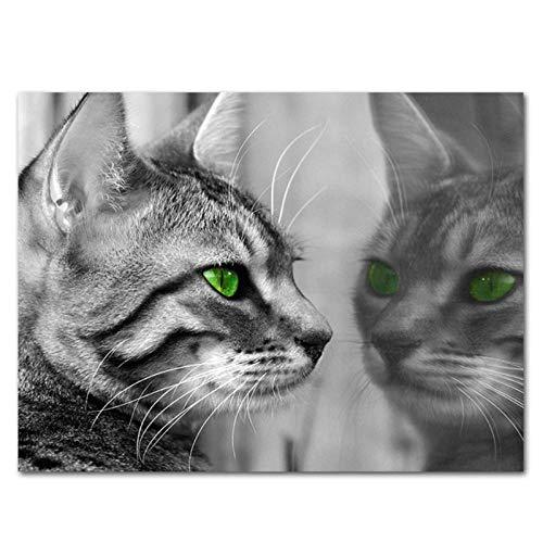 kldfig dier kat in spiegel canvasdruk schilderij zwart en wit poster muurkunst wooncultuur afbeelding voor woonkamer kleuterschool kinderkamer-50 * 70 cm niet ingelijst