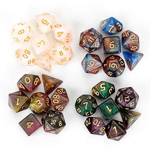 FLASHOWL Camaleón Juego de Dados Juego de Dados de Mazmorras y Dragones de Dados Multicolores para Juegos de rol, Juegos de Mesa, DND (4 Juegos, 28 Piezas)