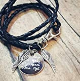 Your Wings Were Ready My Heart Was Not Charm Bracelet Memorial Gift Leather Wrap