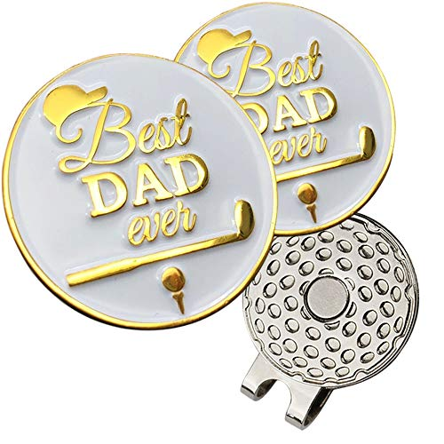 kaveno Golf Ball Marker with Strong Magnetic Golf Hat Clip, Great Gift for Any Occasion PremiumCollection (Best Dad)