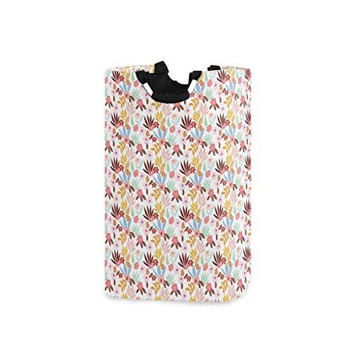 BEITUOLA Wäschesammler Wäschekorb Faltbarer Aufbewahrungskorb,Muster illustriert mit bunten Palmblättern Zweigen und Retro-Stil Blumen,Wäschesack - Wäschekörbe - Laundry Baskets