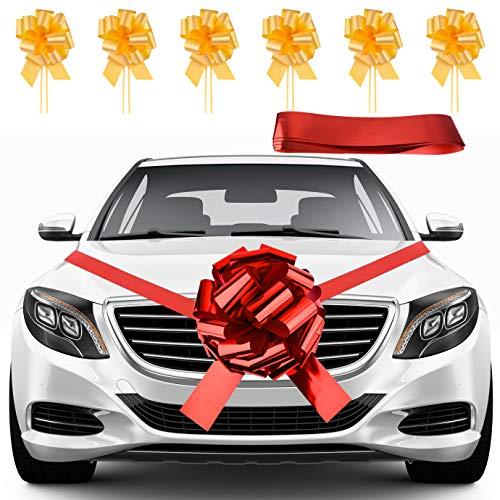 KONUNUS Lazos rojos brillantes para coche de 40,6 cm con cinta de...