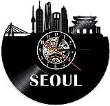Reloj de Pared de Vinilo de la Ciudad de Seúl, Corea del Su