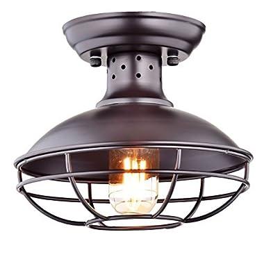 Dazhuan Industrial Vintage Metal Cage Pendant Lighting Semi Flush Mount Ceiling Light Lamp Fixture ORB Hanging Chandelier