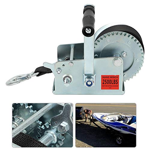 Review Of 2500LBS Hand Crank Winch Hand Winch with 7M Polyester Strap Heavy-Duty Universal for Boat ...