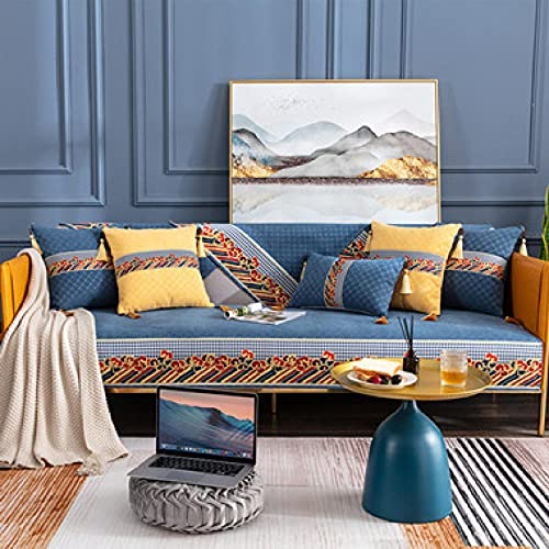 KENEL L-förmige Sofabezug 1,2,3,4-Sitzer, Kombi-Sofabezug Rückenlehne Handtuch Waschbarer Möbelschutz für Wohnzimmer-90x180 cm_Blau-Verkauft in stück