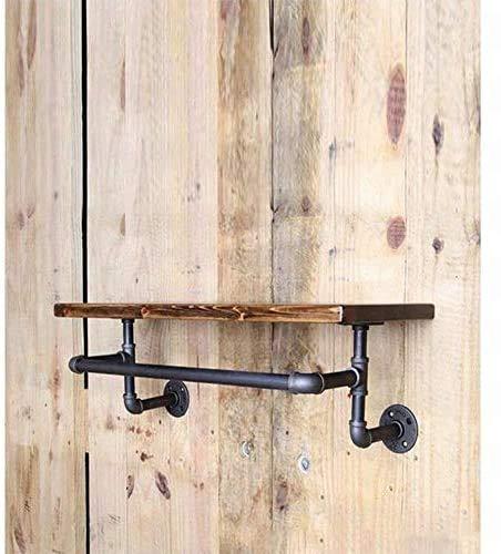 COLiJOL Vinförvaring vintage gammal industriell smidesjärn VVS hylla vägg hängande ställning skohylla vinhylla vägg massivt trä laminat hylla hängare
