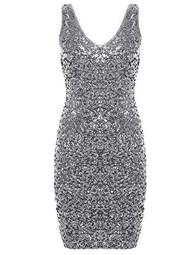 PrettyGuide Women Sexy Deep V Neck Sequin Glitter Bodycon Stretchy Mini Party Dress Silver L