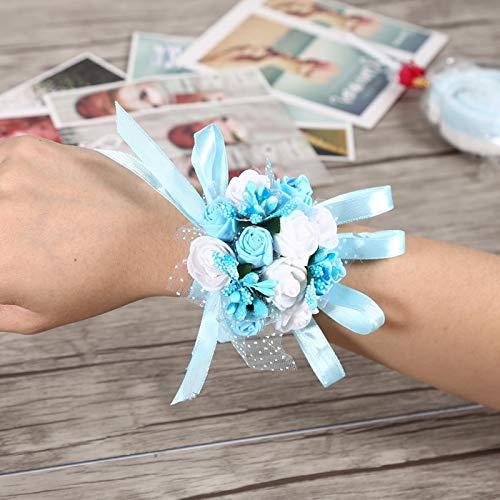 Aoutecen Pulsera de Flores Pulsera de Rosas Ramillete de muñeca de Dama de Honor(Blue and White Flowers)
