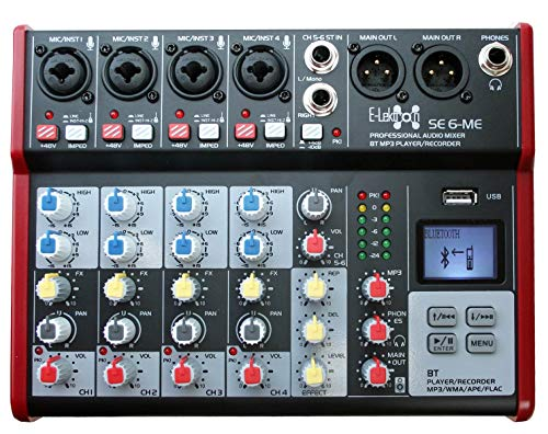 E-Lektron SE-6 Live Mischpult 4-Kanal Mixer + stereo USB/Bluetooth/Soundkarte, inkl. Phantom