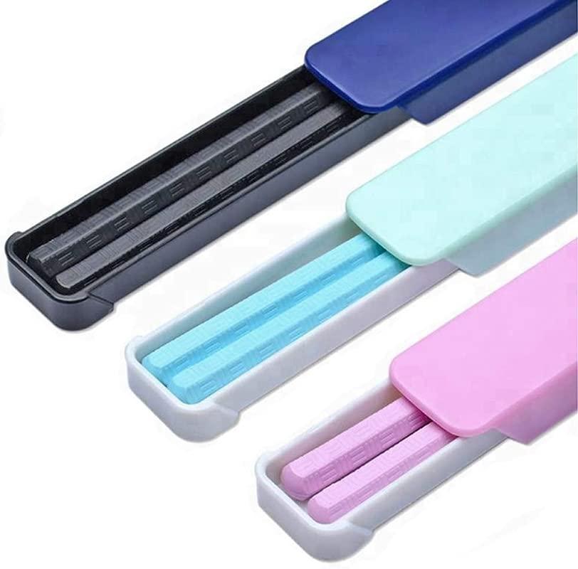 2 Pack Fiberglass Chopsticks Pink Blue Or Black Reusable Dishwasher Safe Chopstick Sets With Case 2 Pack Blue