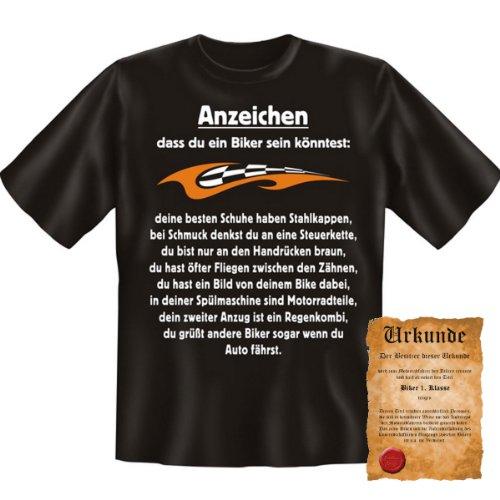 Cooles Biker T-Shirt + Urkunde: Anzeichen, DASS du EIN Biker Sein könntest - witziges Funshirt Geschenk Herren Geburtstag
