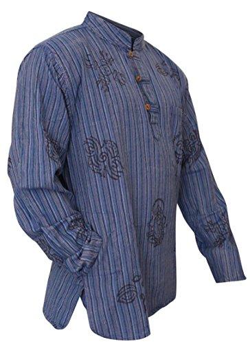 SHOPOHOLIC FASHION - Camisa ligera hippy con diseño de rayas, color azul, para abuelos Azul azul M
