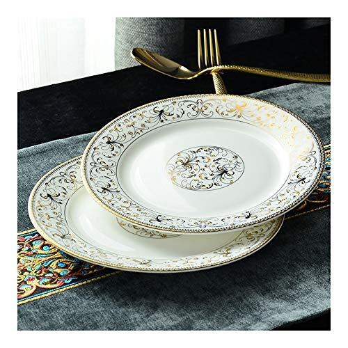 DZSW Plaque de Porcelaine 8 Pouces, Papillon en Or baguage, Porcelaine Plateau de Service, Vaisselle en Porcelaine Blanche, Assiettes décoratives for Le dîner Assiette (Color : 1pc)