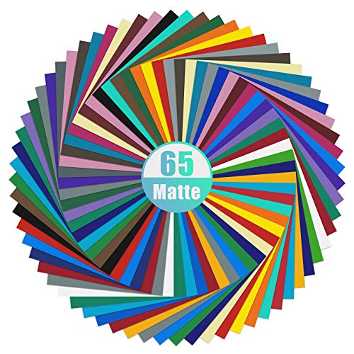 "Matte Vinyl – IModeur Permanent Vinyl Sheets (Pack of 65, 12"" x 12"") - Bundle of 32 Assorted..."