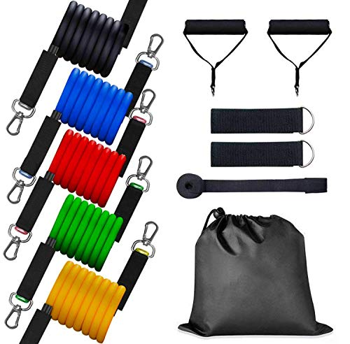 HOOLRO Resistance Bands Set, Resistance Exercise Bands Resistance Loop Bands with Door Anchor, Handles, Legs Ankle Straps for Resistance Training, Physical Therapy, Home Workouts 11pcs