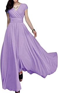 Women's Boho Solid Chiffon V-Neck Cocktail Bridesmaid Evening Party Gown Ball Prom Long Maxi Swing Dress