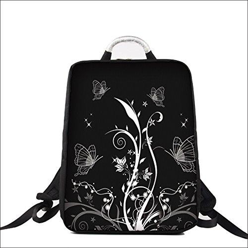 Luxburg Design Zaino per Notebook Multifunzionale per Scuola, Lavoro e Tempo Libero, per Laptop Fino a 17 Pollici, Motivo: Piante e Farfalle Bianco e Nero