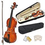Popamazing Violine, Größe 4/4,Antikholz, Natur, Akustische Violine, Geige, Bogen, Kolophonium + Koffer