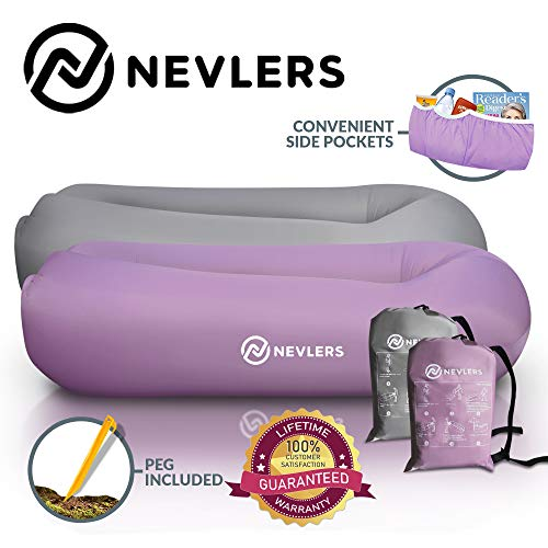 Nevlers Inflatable Lounger with Side Pockets and Matching Travel Bag - 2 Pack - Lavender & Gray - Waterproof and Portable - Great and Easy to Take to The Beach, Park, Pool, and as Camping Accessories