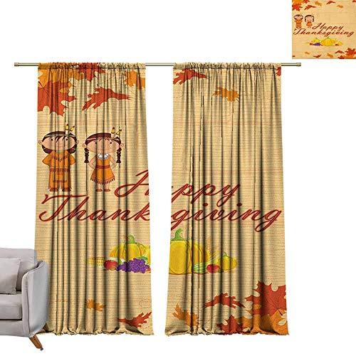 Tr.G verduisterende gordijnen voor kamer donkere panelen voor woonkamer slaapkamer kinderen Thanksgiving, kinderen in inheemse Amerikaanse kostuum behoud inheemse erfgoed oranje Multi kleuren