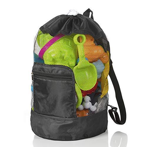 MOOKLIN ROAM Strandspielzeug Tasche, Wasserspielzeug Rücksack Beutel,Strandtasche Sandspielzeug Mesh Beach Bag, Kinder Badetasche Faltbare für Familie Urlaub, Spielwaren Nicht eingeschlossen - Schwarz
