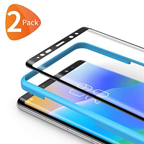 Bewahly Panzerglas Schutzfolie für Samsung Galaxy Note 8 [2 Stück], 3D Curved Full Cover Panzerglasfolie HD Bildschirmschutzfolie 9H Festigkeit Folie mit Installation Werkzeug für Samsung Note 8 - Schwarz