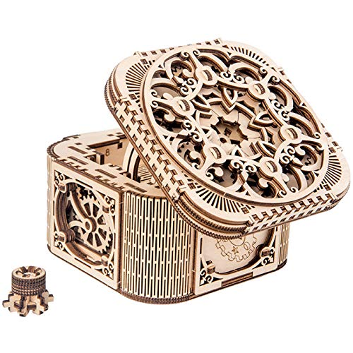 Wooden Mechanical Jewelry Box, Treasure Box 3d Puzzle, Wooden Puzzle Mechanical Model Kits for Teens and Adults