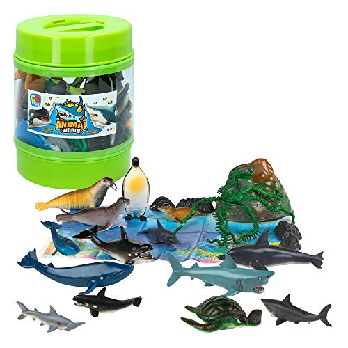 ColorBaby - Bote con animales marinos Animal World - 20 piezas