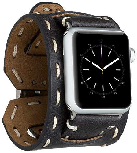 Burkley Leder Armband für Apple Watch 1/2 / 3/4 / 5/6 Uhrenarmband in breiter Ausführung mit Dornverschluss kompatibel mit Apple Watch 42/44mm (Schwarz)
