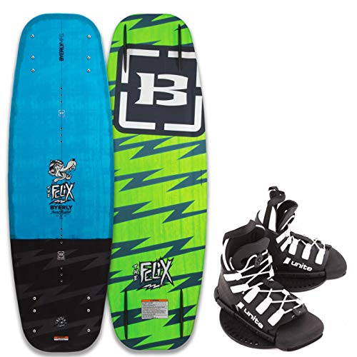 BYERLY Felix Kinder Wakeboard Flex Board Grindbase Cable Wakeboard-Set Bindung 129cm