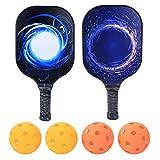 minifinker 2 Pcs Pickleball Paddle-Beach Raquettes, avec 4 Balles, Raquette De Pickleball PP Face en Fibre De Carbone pour Les Sports De Plein Air, Réduisent efficacement Les Vibrations